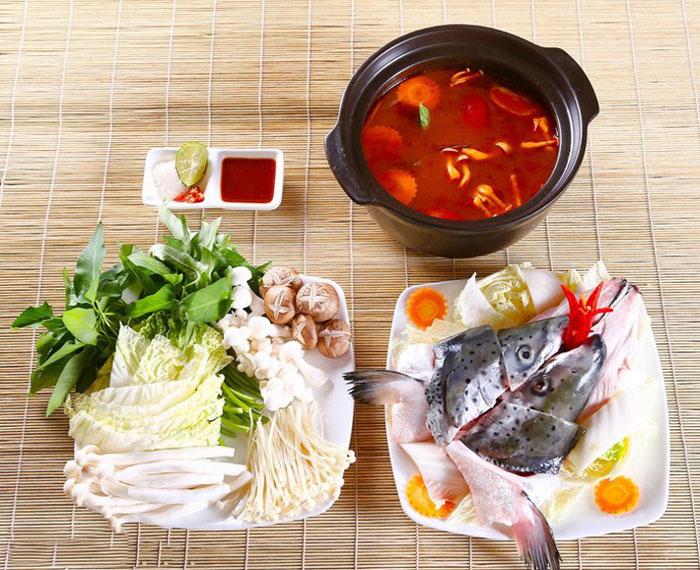 Nguyên liệu cho món lẩu đầu cá hồi sapa