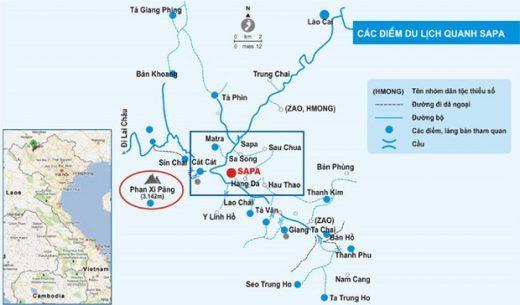 Bản đồ du lịch Sapa - Lào Cai