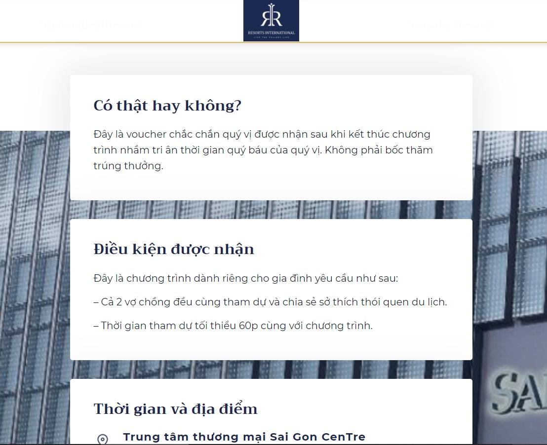 Theo như RIVN giải đáp trên trang trang Resorts International Vietnam đối với thắc mắc về Special Voucher khi đang có chương trình dành tặng miễn phí.